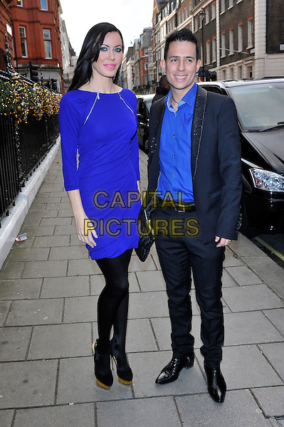 Linzi Stoppard & Ben Lee (Fuse).attended the Avon & Women's Aid Empowering Women Awards 2012, Claridge's Hotel, Brook St., London, England, UK, November 22nd 2012..full length  blue zips dress black tights shoes platform shirt suit grey gray .CAP/CJ.©Chris Joseph/Capital Pictures.