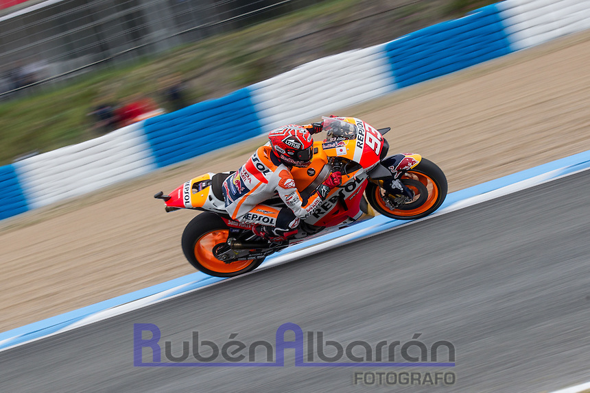 Marc Marquez during the qualifying in Motorcycle Championship GP, in Jerez, Spain. April 23, 2016