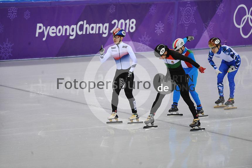 OLYMPIC GAMES: PYEONGCHANG: 17-02-2018, Gangneung Ice Arena, Short Track, 1000m Men, Lim Hyo Jun (KOR), Yuri Confortola (ITA), Semen Elistratov (OAR), Shaolin Sandor Liu (HUN), ©photo Martin de Jong