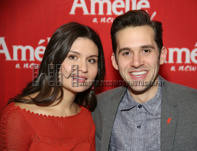 """Phillipa Soo and Adam Chanler-Beret attend the """"Amelie"""" Broadway Musical Sneak Peek Concert at the Cutting Room on February 10, 2017 in New York City."""