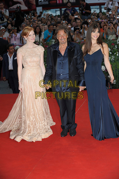 Jessica Chastain, Al Pacino, Lucila Sola. Jaeger-LeCoultre Glory To The Filmmaker Award Ceremony and 'Wild Salome' premiere 68th Venice International Film Festival, Italy,.3rd September 2011..full length navy blue long maxi dress  beige  holding hands clutch bag black suit jacket shirt silk satin .CAP/PL.©Phil Loftus/Capital Pictures.