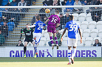 Regan Slater of Carlisle United heads for goal early in the first half during Colchester United vs Carlisle United, Sky Bet EFL League 2 Football at the JobServe Community Stadium on 23rd February 2019