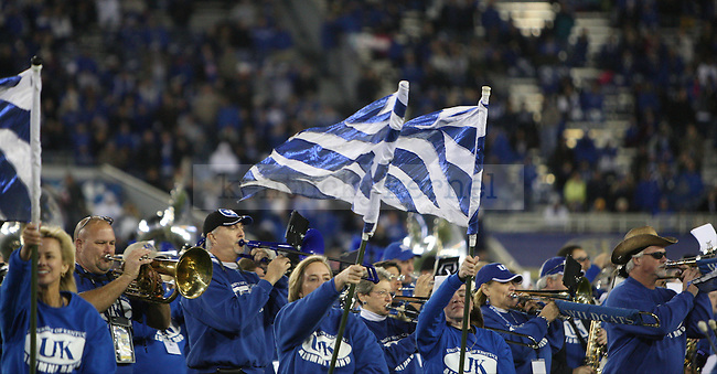 The UK alumni marching band plays during halftime of the University of Kentucky Homecoming football game against Alabama State at Commonwealth Stadium in Lexington, Ky., on Saturday, November 2, 2013. Photo by Tessa Lighty | Staff