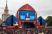 Moscow, Russia, 14/06/2018.<br /> President Vladimir Putin on the live broadcast from Luzhniki Stadium to the Moscow Fan Zone before the opening match between Russia and Saudi Arabia in the 2018 FIFA World Cup.