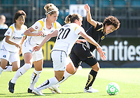 24 May 2009: Eriko Arakawa of the FC Gold Pride dribbles the ball away from Camille Abily of the Los Angeles Sol during the game at Buck Shaw Stadium in Santa Clara, California.  Los Angeles Sol defeated FC Gold Pride, 2-0.