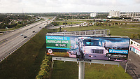 "Drone photo of the FPL ""Responding to Hurricane Irma. Be Safe"" billboard in Miami Gardens, Fla. on September 8, 2017."