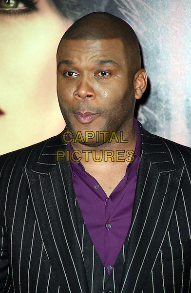 TYLER PERRY.The New York Special Screening of 'For Colored Girls' at Ziegfeld Theatre in New York City, New York, NY, USA. .25th October 2010 .headshot portrait black pinstripe jacket purple shirt funny.CAP/ADM/PZ.©Paul Zimmerman/AdMedia/Capital Pictures.