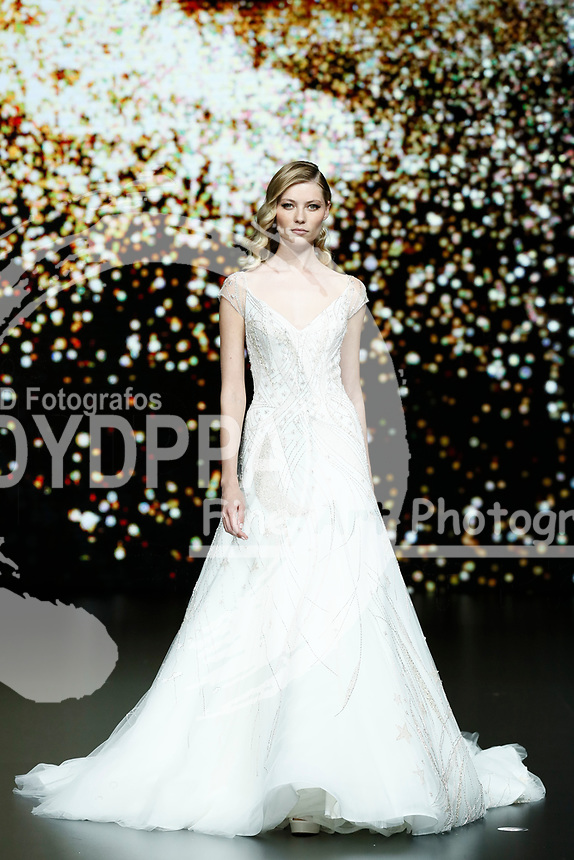 Pronovias fashion show during the Valmont Barcelona Bridal Fashion Week at the Italian Pavilion Fira Montjuic in Barcelona on April 26, 2019.<br /> Vika Falileeva-Leonard