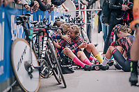 emotional comforting by Team Canyon-Sram riders after finishing and realising the fastest time so far<br /> <br /> UCI WOMEN&lsquo;S TEAM TIME TRIAL<br /> Ötztal to Innsbruck: 54.5 km<br /> <br /> UCI 2018 Road World Championships<br /> Innsbruck - Tirol / Austria