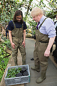 London, UK. 16 March 2015. Boris Johnson with Carlos Magdalena. Mayor of London Boris Johnson puts on waders and joins Kew horticulturist Carlos Magdalena, apprentices and diploma students in the pond to plant young Victoria amazonica waterlilies, colourful hybrid waterlilies, in the Princess of Wales Conservatory at the Royal Botanic Gardens, Kew.
