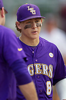 LSU Tigers first baseman Mason Katz (8) before the game against the Texas A&M Aggies in the NCAA Southeastern Conference on May 10, 2013 at Blue Bell Park in College Station, Texas. LSU defeated Texas A&M 7-4. (Andrew Woolley/Four Seam Images).