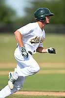 Oakland Athletics outfielder Jaycob Brugman (19) during an Instructional League game against the San Francisco Giants on October 15, 2014 at Papago Park Baseball Complex in Phoenix, Arizona.  (Mike Janes/Four Seam Images)