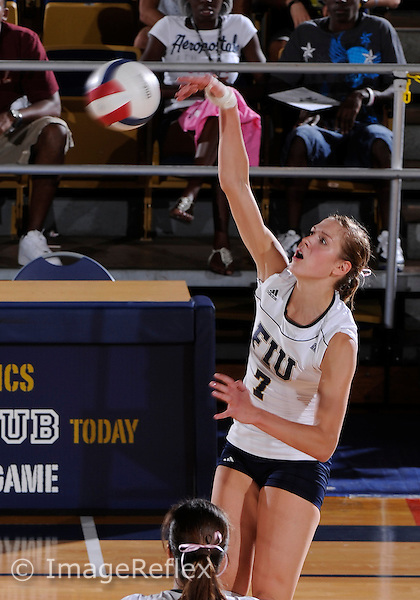 Florida International University women's volleyball player Una Trkulja (7  plays against the Middle Tennessee State University.  FIU won the match 3-1 on October 15, 2010 at Miami, Florida. .