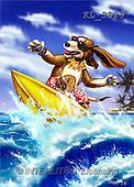Interlitho, Lorenzo, CUTE ANIMALS, paintings, dog surfing(KL3829,#AC#) illustrations, pinturas ,everyday