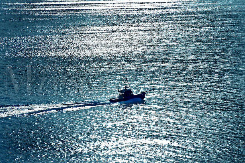 Fishing boat in ocean water, Massachusetts, USA