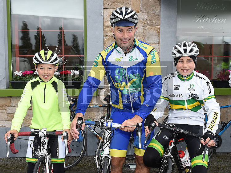 Seamus, Anthony and Ciaran Connor at the annual kevin King Memorial cycle at the Thatch organised by Drogheda Wheelers cycling Club. Photo:Colin Bell/pressphotos.ie