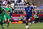 Minamino Takumi of Japan (R) runs with the ball during the AFC Asian Cup UAE 2019 Group F match between Japan (JPN) and Turkmenistan (TKM) at Al Nahyan Stadium on 09 January 2019 in Abu Dhabi, United Arab Emirates. Photo by Marcio Rodrigo Machado / Power Sport Images