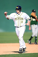 February 20, 2009:  Catcher Coley Crank (3) of the University of Michigan during the Big East-Big Ten Challenge at Jack Russell Stadium in Clearwater, FL.  Photo by:  Mike Janes/Four Seam Images