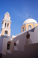 Greece Santorini The Domos belfry and the church of St. John the Bpatist in Fira