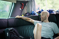 Svein Tuft (CAN/Orica-GreenEDGE) relaxing in the teambus on the way to the start<br /> <br /> <br /> 2014 Tour de France<br /> stage 18: Pau - Hautacam (145km)