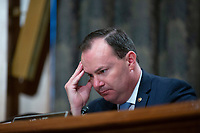 United States Senator Mike Lee (Republican of Utah) listens as Richard Boucher, Former United States Ambassador to Cyprus and Senior Fellow at the Watson Institute for International and Public Affairs, and Lt. Col. Daniel L. Davis, Senior Fellow and Military Expert, testify before the U.S. Senate Subcommittee on Federal Spending Oversight and Emergency Management at the United States Capitol in Washington D.C., U.S. on Tuesday, February 11, 2020.  <br /> <br /> Credit: Stefani Reynolds / CNP/AdMedia