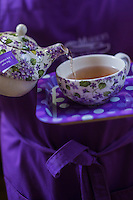 France, Haute-Garonne (31), Toulouse, Maison de la Violette, située sur une péniche du Canal du Midi , <br /> Thé à la violette// France, Haute Garonne, Toulouse,  Maison de la Violette, located on a barge on the Canal du Midi, Violet tea