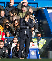 Watford Manager Marco Silva shows his frustrations as Chelsea take back the lead 3-2 during the Premier League match between Chelsea and Watford at Stamford Bridge, London, England on 21 October 2017. Photo by Andy Rowland.