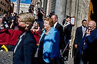 Roma 2 Ottobre 2013<br /> il ministro della Giustizia Annamaria Cancellieri, lascia il Senato dopo il voto di fiducia<br /> Justice Minister Annamaria Cancellieri  leaves  the Upper House after  the confidence vote