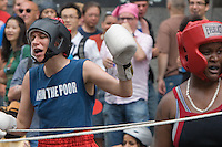 Participants in Toronto's annual dyke march masquerade as boxers.