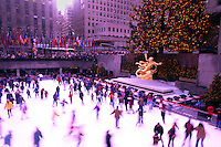 Skating rink at Rockefeller Center at Christmas time. New York