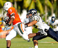 Florida International University Golden Panthers (0-2, 0-0 SBC)  versus the University of Miami Hurricanes (1-1, 0-0 ACC) at the Orange Bowl, Miami, Florida on Saturday, September 15, 2007.  The Hurricanes defeated the Golden Panthers, 23-9...FIU sophomore linebacker Michael Dominguez (53) (Miami, Fla.) chases down Miami running back Javarris James (5) early in the third quarter.