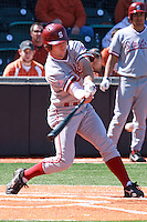 AUSTIN, TEXAS-March 5, 2011:  Jake Stewart of Stanford hits a double during the game against the Texas Longhorns, at Disch-Falk field in Austin, Texas.  Stanford defeated Texas 9-2.