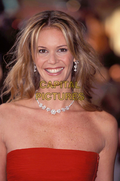 "ELLE MACPHERSON.Ref:9512.australian supermodel, , ""the body"", strapless red dress, diamond necklace earrings, headshot, portrait.www.capitalpictures.com.sales@capitalpictures.com.© Capital Pictures."