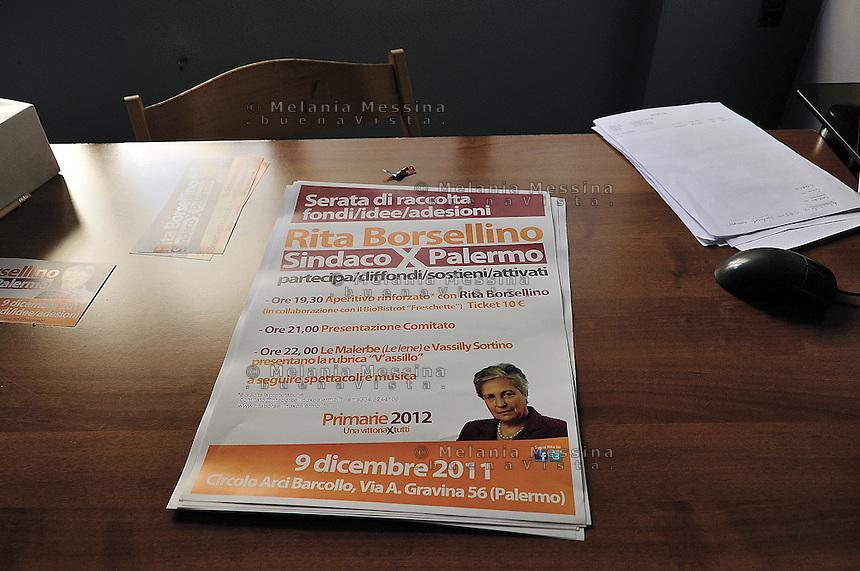 """Palermo:the premises of the Secretariat of the party of Rita Borsellino..Palermo, i locali della sede del movimento """"Altra Storia"""" di Rita Borsellino"""