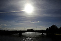 Date 15/03/2019 - SPECIAL TO GO WITH OWEN BOWCOTT STORY - Border Brexit -  A truck passes over the River Foyle, at the point where it leaves Strabane County Tryone in Northern Ireland and enters Lifford in County Donegal, Ireland. Photo/Paul McErlane