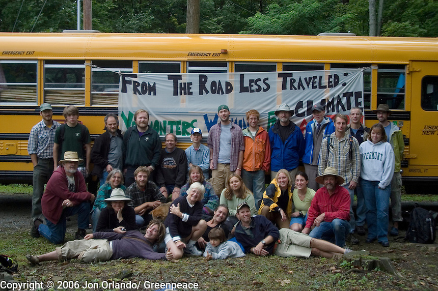 Citizens participate in a five day walk across Vermont to raise awareness on Global Warming.