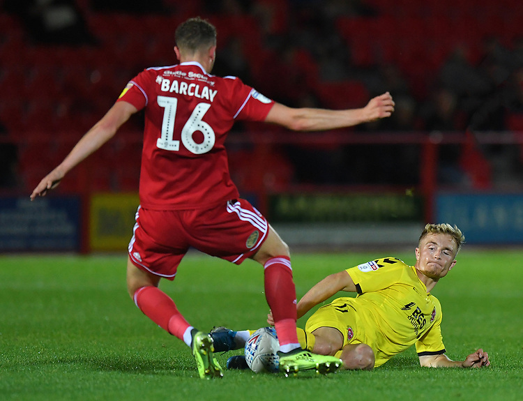 Fleetwood Town's Kyle Dempsey battles with Accrington Stanley's Ben Barclay<br /> <br /> Photographer Dave Howarth/CameraSport<br /> <br /> EFL Leasing.com Trophy - Northern Section - Group B - Tuesday 3rd September 2019 - Accrington Stanley v Fleetwood Town - Crown Ground - Accrington<br />  <br /> World Copyright © 2019 CameraSport. All rights reserved. 43 Linden Ave. Countesthorpe. Leicester. England. LE8 5PG - Tel: +44 (0) 116 277 4147 - admin@camerasport.com - www.camerasport.com