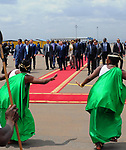 Egyptian President Abdel Fattah al-Sisi walks alongside with Rwandan President Paul Kagame inspect a guard of honour after al-Sisi's arrival at Kigali International Airport on August 15, 2017. The Egyptian President is paying a two day visit to Rwanda. Photo by Egyptian President Office