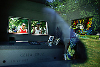 Fan visit the queen of salsa Celia Cruz mausoleum during her  10th death anniversary in the Bronx in New York,  July 13, 2013. Photo by Eduardo Munoz Alvarez / VIEWpress.