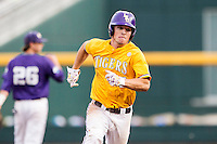 LSU Tigers shortstop Alex Bregman (8) runs to third base against the TCU Horned Frogs in Game 10 of the NCAA College World Series on June 18, 2015 at TD Ameritrade Park in Omaha, Nebraska. TCU defeated the Tigers 8-4, eliminating LSU from the tournament. (Andrew Woolley/Four Seam Images)
