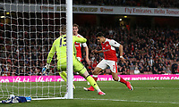 Arsenal's Alexis Sanchez scores his sides first goal  <br /> <br /> Photographer Rob Newell/CameraSport<br /> <br /> The Premier League - Arsenal v Sunderland - Tuesday May 16th 2017 - Emirates Stadium - London<br /> <br /> World Copyright &copy; 2017 CameraSport. All rights reserved. 43 Linden Ave. Countesthorpe. Leicester. England. LE8 5PG - Tel: +44 (0) 116 277 4147 - admin@camerasport.com - www.camerasport.com