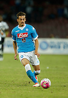 Napoli's Manolo Gabbiadini controls the ball during the  italian serie a soccer match against    Juventus,    at  the San  Paolo   stadium in Naples  Italy , September 26 , 2015