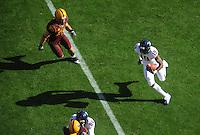 Nov. 28, 2009; Tempe, AZ, USA; Arizona Wildcats wide receiver William Wright runs with a pass in the first quarter against the Arizona State Sun Devils at Sun Devil Stadium. Mandatory Credit: Mark J. Rebilas-