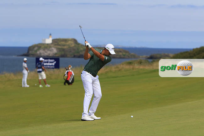 Christiaan Bezuidenhout (RSA) on the 4th during Round 4 of the Aberdeen Standard Investments Scottish Open 2019 at The Renaissance Club, North Berwick, Scotland on Sunday 14th July 2019.<br /> Picture:  Thos Caffrey / Golffile<br /> <br /> All photos usage must carry mandatory copyright credit (© Golffile   Thos Caffrey)