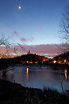 Pix: Shaun Flannery/shaunflanneryphotography.com...COPYRIGHT PICTURE>>SHAUN FLANNERY>01302-570814>>07778315553>>..9th March 2011..........Twilight at Sprotbrough Falls on the River Don, Doncaster, United Kingdom.