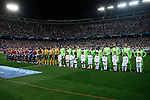 Atletico de Madrid´s players and Juventus´s players before Champions League soccer match between Atletico de Madrid and Juventus at Vicente Calderon stadium in Madrid, Spain. October 01, 2014. (ALTERPHOTOS/Victor Blanco)