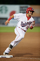 Auburn Doubledays first baseman Jake Scudder (22) runs the bases during a game against the Connecticut Tigers on August 8, 2017 at Falcon Park in Auburn, New York.  Auburn defeated Connecticut 7-4.  (Mike Janes/Four Seam Images)
