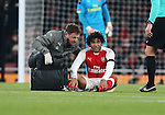 Arsenal's Mohamed Elneny goes off injured during the EFL Cup match at the Emirates Stadium, London. Picture date October 30th, 2016 Pic David Klein/Sportimage