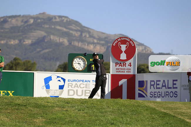 Belle Edberg (SWE) on the 1st tee during Round 2 of the Open de Espana  in Club de Golf el Prat, Barcelona on Friday 15th May 2015.<br /> Picture:  Thos Caffrey / www.golffile.ie
