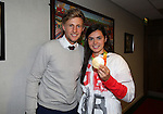 England cricketer Joe Root with paralympic rower Grace Clough during the League One match at Bramall Lane Stadium, Sheffield. Picture date: September 27th, 2016. Pic Simon Bellis/Sportimage